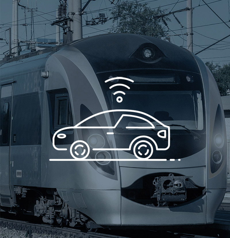 Image of train and connectivity icon