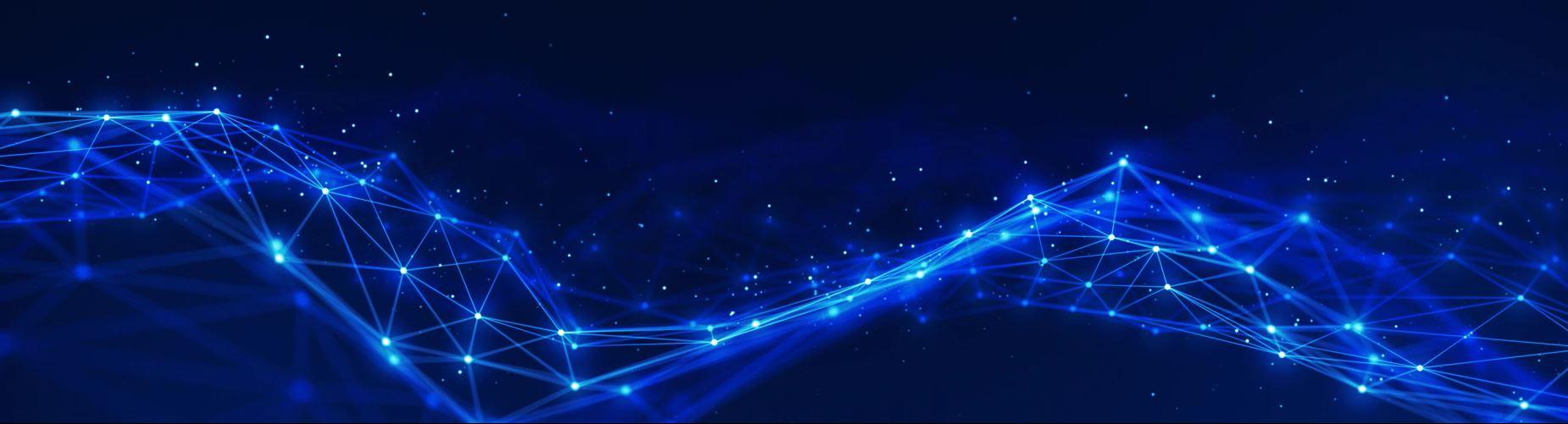 Digital network grid blue