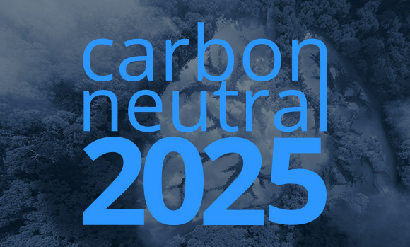 Forrest lungs breathing. Text carbon neutral 2025