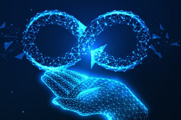 Circular Economy Hand holding an infinity symbol