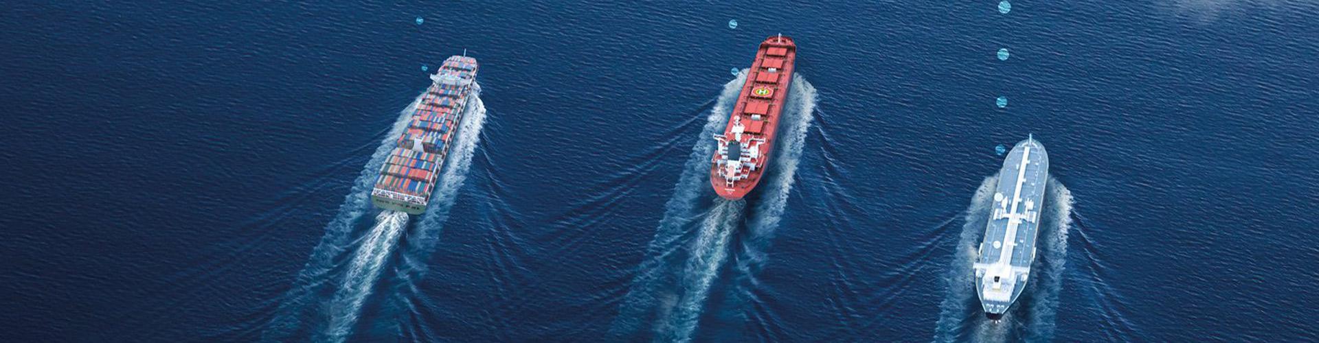 Three vessels at sea